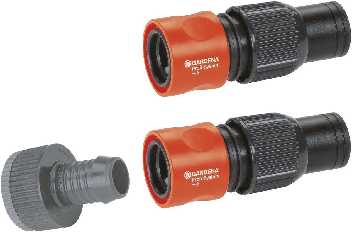 Набор соединительных элементов Gardena Profi, 3 предмета01505-27.000.00Набор соединительных элементов Gardena Profi используется для подключения системы подземной системы дождевания или шланга к водопроводу. Штуцер предназначен для соединения с водопроводным краном диаметром с резьбой 26,5 мм (G 3/4), а переходник позволяет подключать к резьбе 33,3 мм (G 1). Шланговый соединитель применяют для садовых шлангов 19 мм (G3/4). В набор входят:- штуцер с адаптером - 1 шт,- шланговый соединитель системы Profi Maxi-Flow - 2 шт.