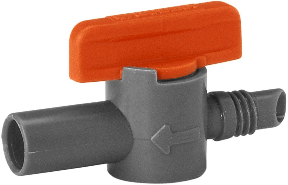 Кран запорный Gardena, 5 шт01374-29.000.00Кран запорный Gardena входит в состав системы микрокапельного полива. Используется для регулировки подачи и напора воды. Подключается к микронасадкам. Со стороны входа диаметр составляет 6 мм, а со стороны выхода - 9 мм (по внешнему контуру). В наборе 5 штук.