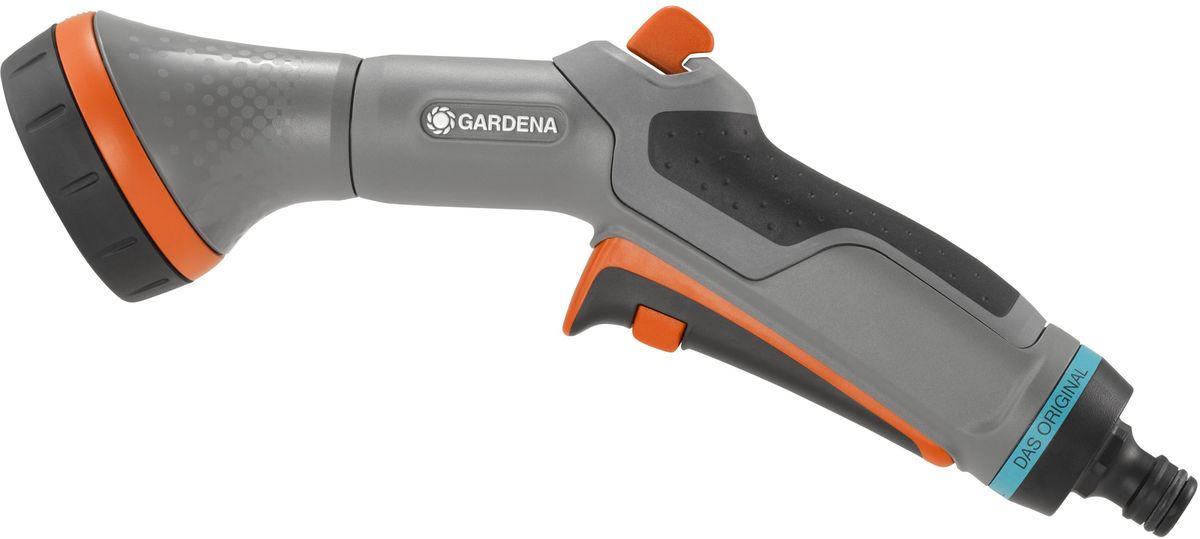 Пистолет-распылитель для полива Gardena Comfort, многофункциональный13162-20.000.00Многофункциональный пистолет-распылитель для полива Gardena Comfort предназначен для деликатного ухода за рассадой и растениями. Имеет регулятор напора, рычаг перекрытия воды и эргономичный курок с удобным фиксатором. Оснащен технологией защита от мороза, поэтому он не повредится при внезапном наступлении холодов. Тип струи: мягкий душ и распыление.