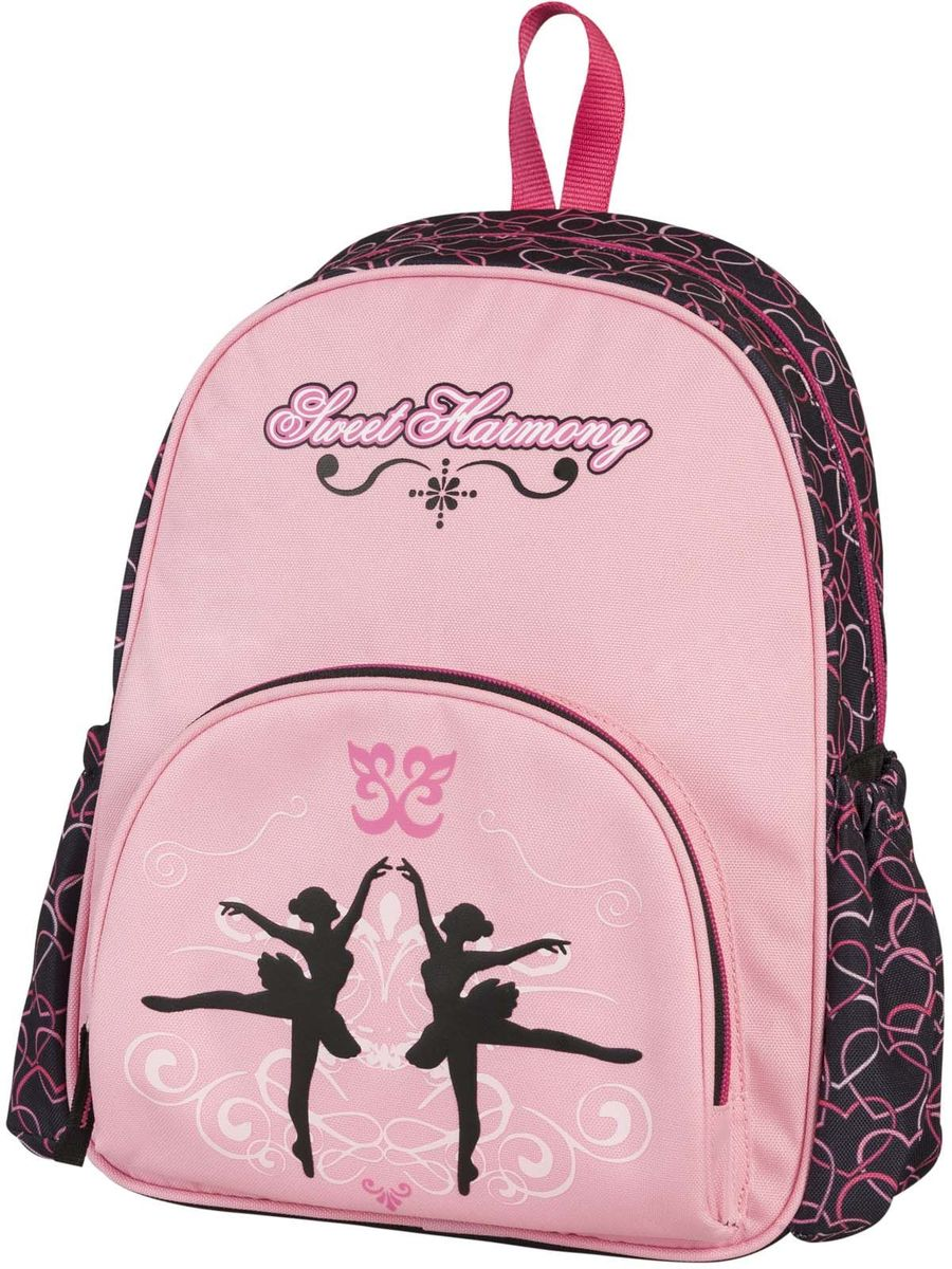 Target Collection Рюкзак дошкольный для девочки Сладкая гармония17897Рюкзак для девочки дошкольный от бренда Target Collection оформлен ярким принтом с изображением стилизованных балерин и изготовлен из современных, прочных материалов. Состоит из одного отделения, закрывающегося на молнию. На лицевой стороне рюкзака расположен большой накладной карман, закрывающийся на застежку-молнию, а по бокам рюкзака два кармана на резинке. Бегунки на застежках дополнены удобными тканевыми держателями. Рюкзак снабжен регулируемыми по длине плечевыми ремнями и ручкой для переноски в руке.