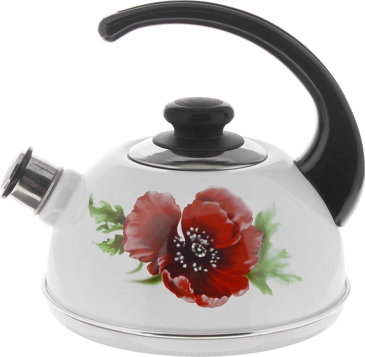 Чайник Рубин, со свистком, цвет: белый, красный, 2,5 лT04/25/03/04Чайник Рубин изготовлен из высококачественной стали с эмалированным покрытием и оформлен изображением цветка. Чайник оснащен удобной пластиковой ручкой. Носик чайника имеет съемный свисток, звуковой сигнал которого подскажет, когда закипит вода. Чайник подходит для газовых, электрических и стеклокерамических плит.Диаметр чайника (по верхнему краю): 8,5 см. Высота чайника (без учета ручки и крышки): 11см. Высота чайника (с учетом ручки): 21 см.