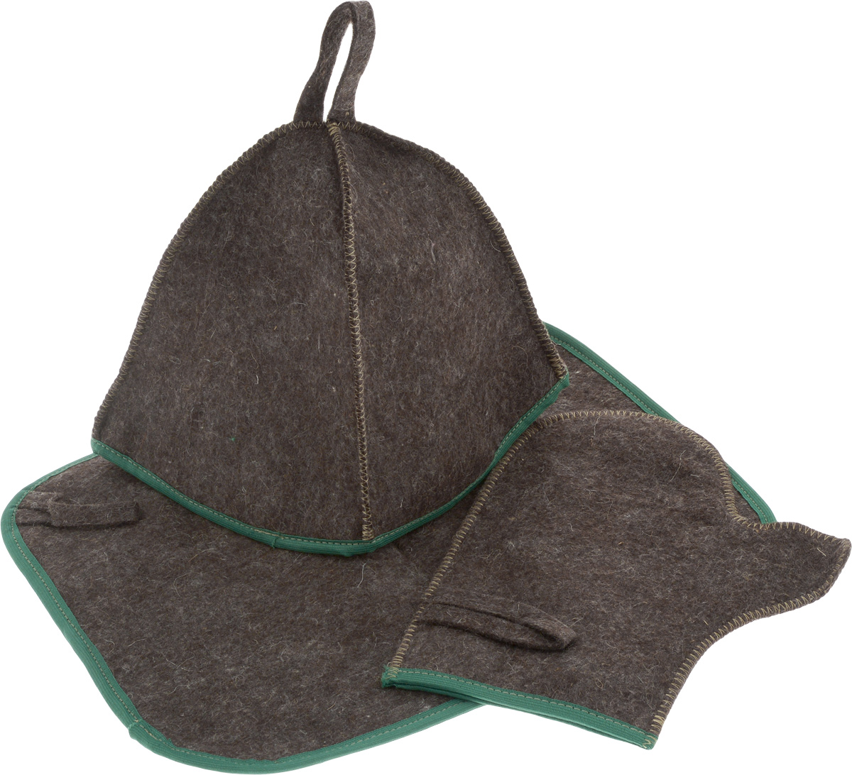 Набор для бани и сауны Proffi Sauna, цвет: темно-коричневый, зеленый, 3 предмета наборы аксессуаров для бани proffi набор для баникамуфляж