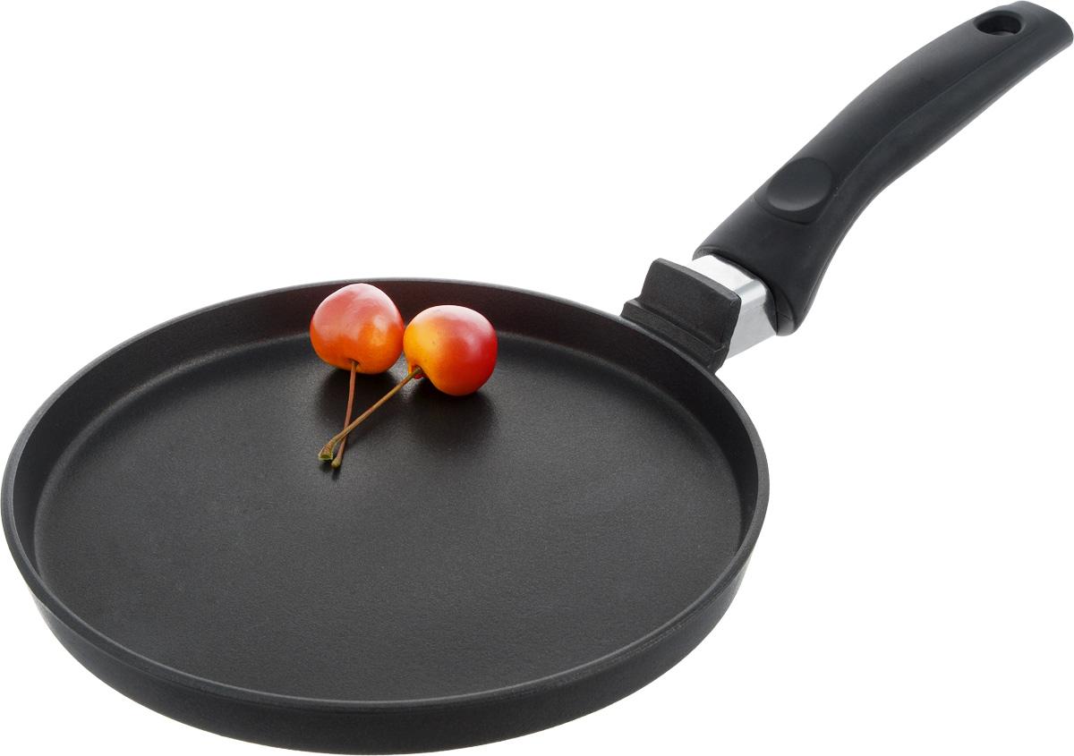 """Сковорода """"Алита"""" изготовлена из литого алюминия с качественным антипригарным   покрытием """"Ладофлон"""". Отличные антипригарные свойства   покрытия позволяют готовить практически без масла, что делает ваши блюда менее   жирными и   калорийными. Идеально плоская поверхность с низкой кромкой подходит для   приготовления   блинчиков и яичницы. Эргономичная несъемная ручка изготовлена из прочного пластика.     Подходит   для электрических и газовых видов плит.   Диаметр сковороды: 20 см. Высота   стенки: 2 см.  Длина ручки: 15 см.      Простой рецепт блинов на Масленицу – статья на OZON Гид."""