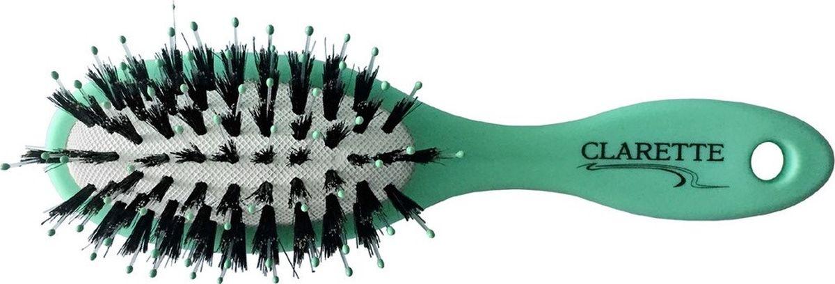 Clarette Щетка для волос массажная большая матовая салатоваяCMB 676Коллекция Clarette «Матовая» - это разнообразные щетки для ухода за волосами. Основа и ручка щеток выполнена из прорезиненного пластика, что позволяет щетке не скользить в руках при расчесывании.Натуральная щетина дикого кабана придает. Пластиковые зубья с массажными шариками интенсивно массируют кожу головы , идеально прочесывая волосы. Компактный размер щетки делает ее удобной в дороге. Легко помещается в дамской сумочке.