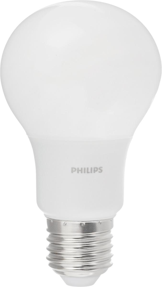 Лампа светодиодная Philips LED bulb, цоколь E27, 7W, 6500KЛампа LEDBulb 7-60W E27 6500K 230VA60/PFСовременные светодиодные лампы LED bulb экономичны, имеют долгий срок службы и мгновенно загораются, заполняя комнату светом. Лампа оригинальной формы и высокой яркости позволяет создать уютную и приятную обстановку в любой комнате вашего дома. Светодиодные лампы потребляют на 88% меньше электроэнергии, чем обычные лампы накаливания, излучая при этом привычный и приятный теплый свет. Срок службы светодиодной лампы LED bulb составляет до 15000 часов, что соответствует общему сроку службы пятнадцати ламп накаливания. Благодаря чему менять лампы приходится значительно реже, что сокращает количество отходов. Напряжение: 220-240 В. Световой поток: 600 lm. Эквивалент мощности в ваттах: 60 Вт.
