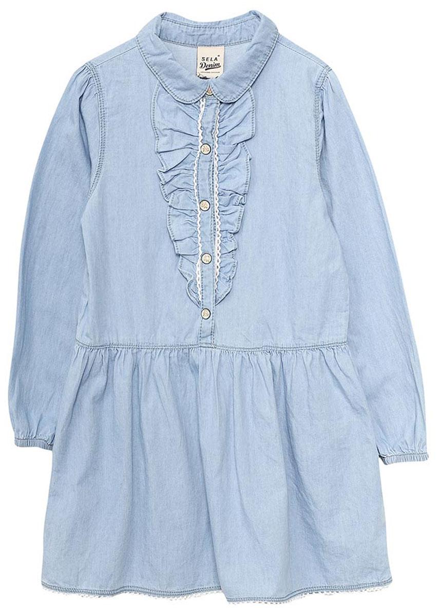Платье для девочки Sela, цвет: голубой джинс. Dj-537/012-7122. Размер 98, 3 годаDj-537/012-7122Джинсовое платье для девочки Sela выполнено из натурального хлопка и оформлено рюшами и ажурным плетением. Модель с расклешенной юбкой и отложным воротничком застегивается на кнопки. Манжеты длинных рукавов дополнены резинками. Мягкая ткань комфортна и приятна на ощупь. Платье подойдет для прогулок и дружеских встреч и станет отличным дополнением гардероба.