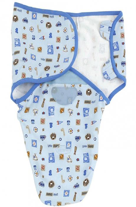 Конверт для новорожденного Summer Infant SwaddleMe на липучке, цвет: голубой, светло-голубой. 72150. Размер S/M, длина 50 см