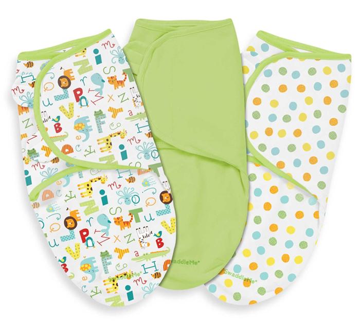 Конверт для новорожденного Summer Infant SwaddleMe на липучке, цвет: салатовый, белый, 3 шт. 87100. Размер S/M, длина 60 см конверт для новорожденного summer infant swaddleme на липучке цвет голубой 55816 размер s m длина 55 см
