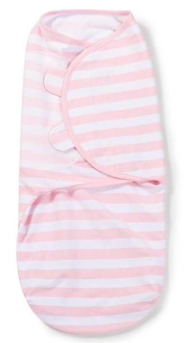 Конверт для новорожденного Summer Infant SwaddleMe на липучке, цвет: розовый, белый. 55876. Размер S/M, длина 55 см