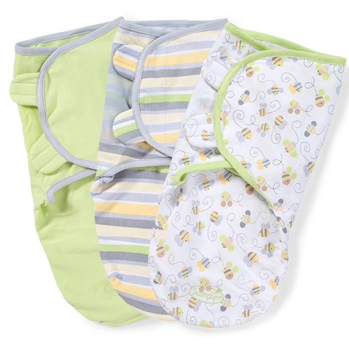 Конверт для новорожденного Summer Infant SwaddleMe на липучке, цвет: салатовый, белый, серый, 3 шт. 54000. Размер S/M, длина 50 см summer infant 54000 конверт swaddleme для пеленания на липучке размер s m 3 шт нейтральная пчелки