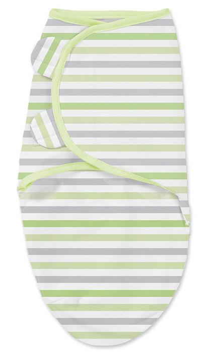Конверт для новорожденного Summer Infant SwaddleMe на липучке, цвет: салатовый, белый. 76980. Размер S/M, длина 55 см