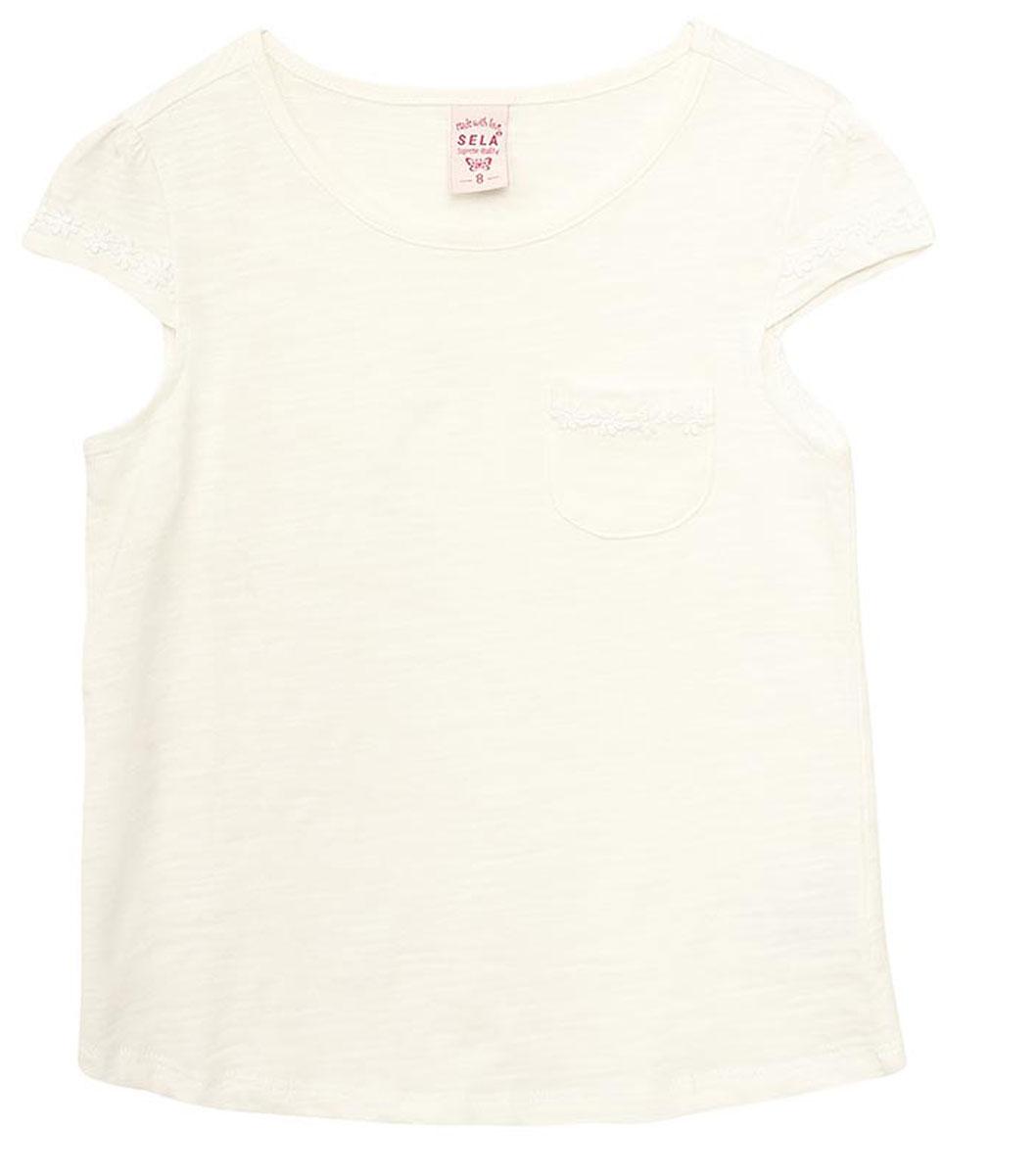 Футболка для девочки Sela, цвет: молочный. Ts-611/957-7172. Размер 152, 12 лет футболка для девочки sela цвет лиловый tsl 611 984 7223 размер 152 12 лет