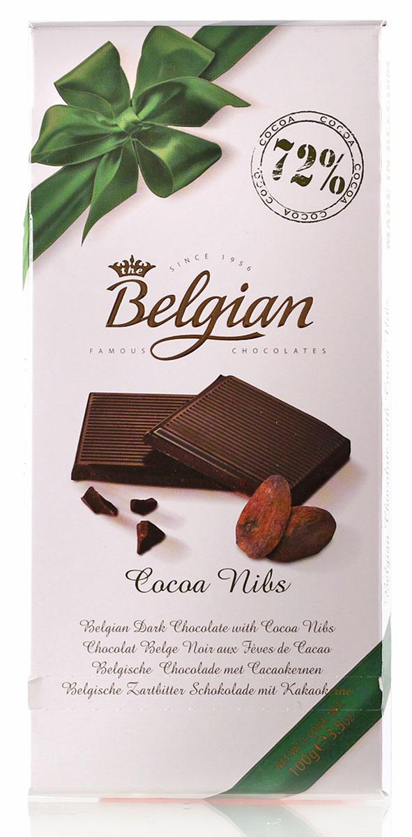 The Belgian Шоколад горький 72% какао с какао бобами, 100 г