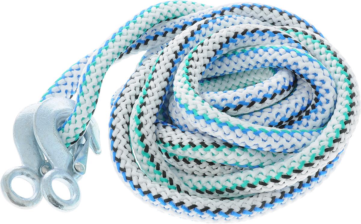 Трос-шнур альпинистский Главдор, с 2 крюками, диаметр 20 мм, 12 т, 4,6 м. GL-256GL-256Альпинистский трос-шнур Главдор представляет собой веревку из полипропилена с двумя стальными крюками. Специальное плетение троса обеспечивает эластичность троса. На протяжении всего срока службы не меняет свои линейные размеры.Трос морозостойкий, влагостойкий и устойчив к агрессивным средами воздействию нефтепродуктов. Максимальная нагрузка: 12 т.Длина троса: 460 см.Диаметр троса: 20 мм.