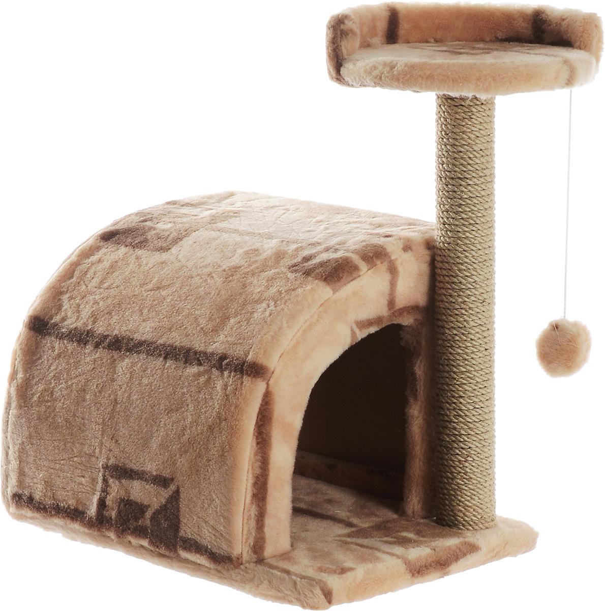 Домик-когтеточка Меридиан, полукруглый, цвет: бежевый, коричневый, 54 х 40 х 59 смД518ГДомик-когтеточка Меридиан выполнен из высококачественного ДВП и ДСП и обтянут искусственным мехом. Изделие предназначено для кошек. Ваш домашний питомец будет с удовольствием точить когти о специальный столбик, изготовленный из джута. А отдохнуть он сможет либо на полке, либо в домике. Изделие снабжено подвесной игрушкой. Домик-когтеточка Меридиан принесет пользу не только вашему питомцу, но и вам, так как он сохранит мебель от когтей и шерсти.Общий размер: 54 х 40 х 59 см.Размер домика: 36 х 36 х 32 см.Размер полки: 27 х 26 см.