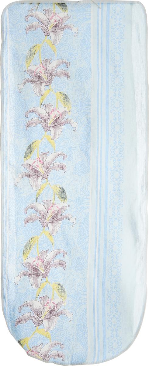 Чехол для гладильной доски Eva Лилии, цвет: голубой, бордовый, белый, 125 х 47 см чехол для гладильной доски brabantia ящерица с войлоком 124 см х 38 см цвет голубой 265006