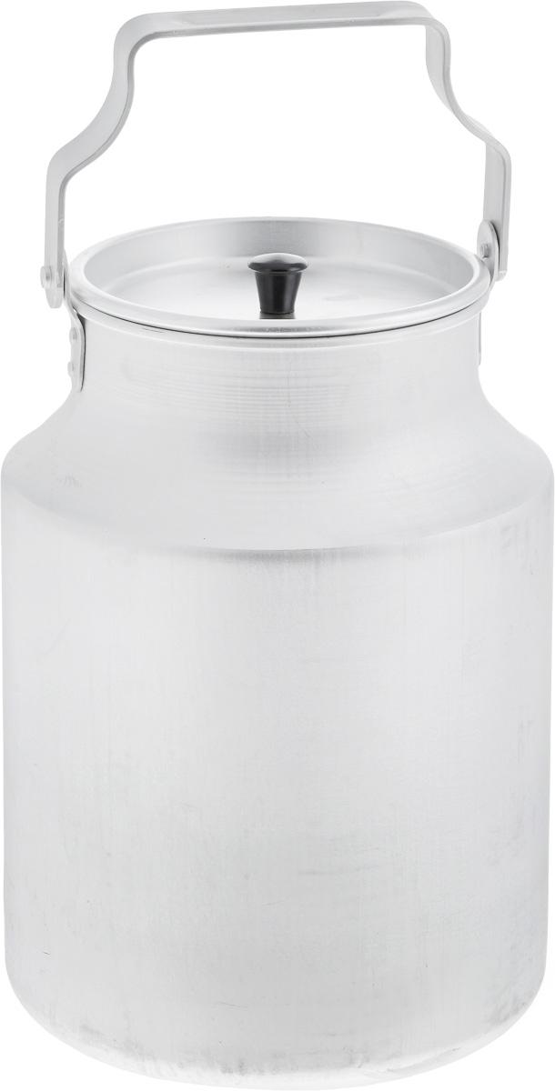 """Бидон """"Scovo"""", выполненный из высококачественного алюминия, используют для хранения  жидкостей, в основном молока, и сыпучих продуктов. Бидон имеет алюминиевую крышку с  пластиковой ручкой, а также оснащен подвижной ручкой для удобной переноски.  Объем 10 литров.  Диаметр бидона (по верхнему краю): 17 см. Высота бидона (без учета крышки): 31,5 см. Диаметр основания: 20 см."""