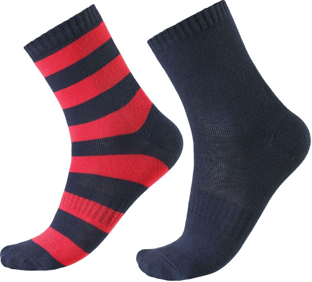 Носки детские Reima Colombo, цвет: синий, красный. 527267-6980. Размер 38/41527267-6980В носках из смеси Coolmax детским ножкам будет тепло и уютно. Смесь Coolmax с хлопком превосходно подходит для занятий спортом и подвижных игр на свежем воздухе, поскольку эффективно выводит влагу с кожи и не вызывает потливости. Этот материал дышит и быстро сохнет. Легкая летняя модель без ворсового усиления.