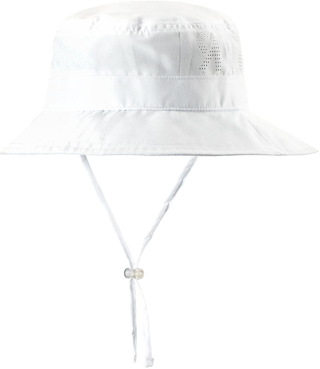 Панама детская Reima Tropical, цвет: белый. 5285310100. Размер 465285310100Защитная панама для малышей и детей постарше с фактором УФ-защиты 50+. Козырек панамы защищает лицо и глаза от вредного ультрафиолета. Изготовлена из дышащего и легкого материала SunProof. Облегченная модель без подкладки, а чтобы ветер не унес эту новую очаровательную панаму, просто завяжите завязки!