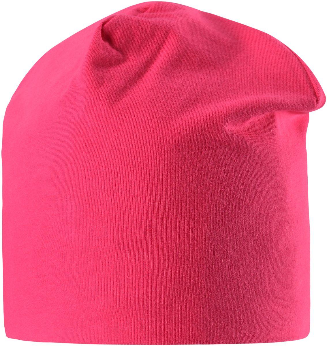 Шапка для девочки Lassie, цвет: ярко-розовый. 7287043401. Размер 52/547287043401Легкая и удобная детская шапка в нескольких вариантах разных однотонных расцветок и ярких принтов. Шапка сделана из легкого и дышащего джерси на полной трикотажной подкладке из смеси хлопка и джерси. Ветронепроницаемые вставки в области ушей обеспечивают дополнительное утепление.