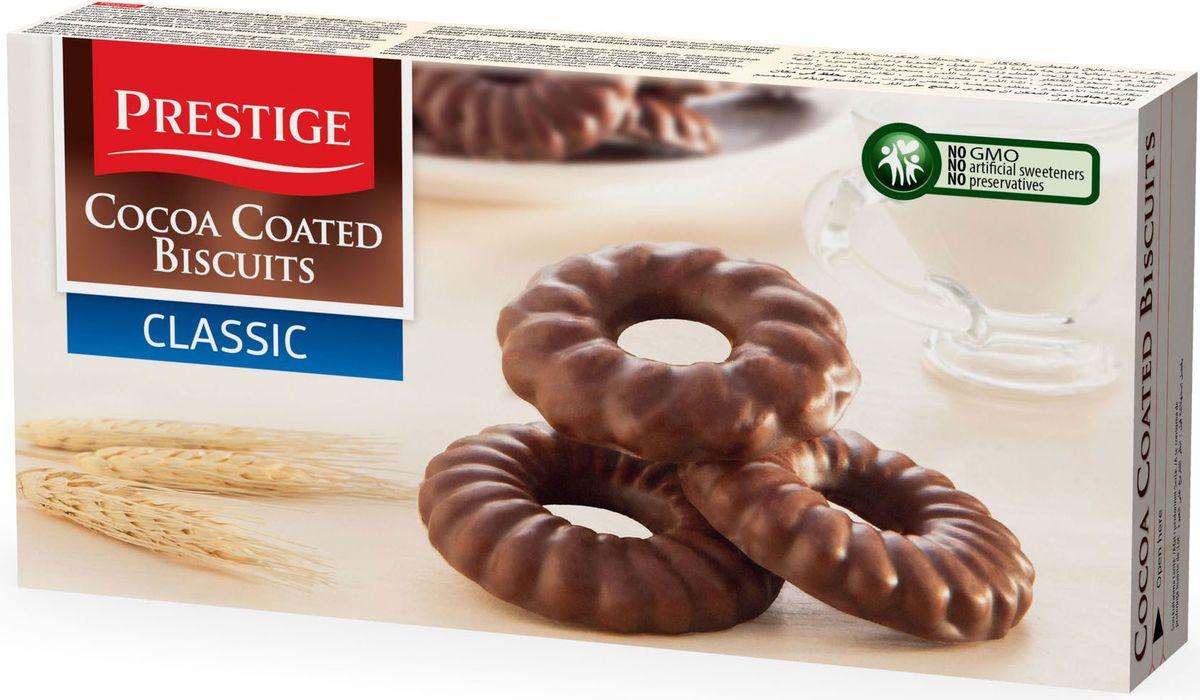 Prestige Печенье классическое в какао глазури, 175 г3.58.14Печенье классическое Prestige, покрытое какао глазурью, создано из простых и полезных ингредиентов. Насыщенный мягкий шоколадный вкус подарит массу удовольствия, сам шоколад в сочетании с печеньем зарядит энергией и бодростью с утра и на целый день.