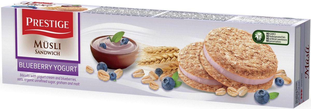 Prestige Печенье мюсли с йогуртово-черничным кремом, 92 г сладкая сказка печенье дед мороз и снегурочка 400 г