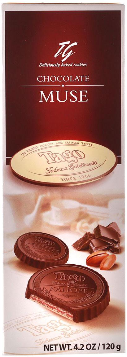 Tago Шоколадная муза Вафли с какао-ореховым вкусом, 120 г3.32.03Вафли с какао-ореховым кремом от Tago - прекрасный десерт к чаю.