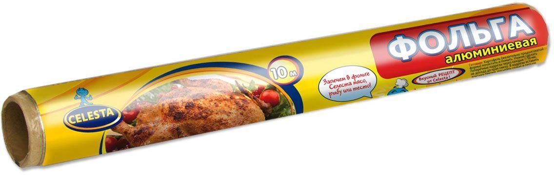 """Фольга алюминиевая """"Celesta"""" предназначена для запекания мяса, рыбы, птицы, овощей в духовом шкафу и на гриле. Используется для хранения и упаковки пищи, превосходно сохраняет продукты в свежем виде.  Фольга имеет уникальную способность задерживать на своей поверхности более 90 % излучения. Благодаря этому при запекании даже самые сухие сорта мяса или рыбы получаются сочными.  К ее достоинствам относится:  -отсутствие содержания вредных для здоровья добавок;  -100 % гигиеничность;  возможность использования при температуре от -30 до 350 °C.  Пищевая фольга применяется и для хранения пищи. Она полностью герметична, не впитывает запахи и жир, не пропускает воду. Такой упаковочный материал совершенно непрозрачный, что способствует сохранению витаминов, которые пропадают под воздействием солнечного света."""