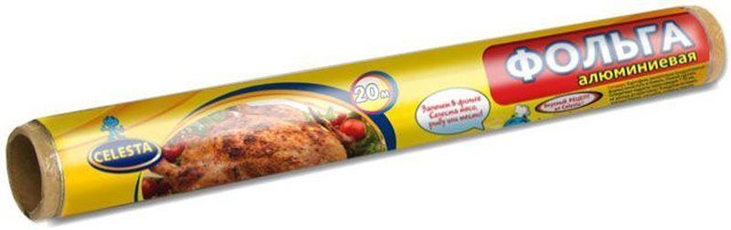 Фольга алюминиевая пищевая Celesta, 20 м209_008Фольга алюминиевая Celesta предназначена для запекания мяса, рыбы, птицы, овощей в духовом шкафу и на гриле. Используется для хранения и упаковки пищи, превосходно сохраняет продукты в свежем виде.Фольга имеет уникальную способность задерживать на своей поверхности более 90 % излучения. Благодаря этому при запекании даже самые сухие сорта мяса или рыбы получаются сочными.К ее достоинствам относится:-отсутствие содержания вредных для здоровья добавок;-100 % гигиеничность;возможность использования при температуре от -30 до 350 °C.Пищевая фольга применяется и для хранения пищи. Она полностью герметична, не впитывает запахи и жир, не пропускает воду. Такой упаковочный материал совершенно непрозрачный, что способствует сохранению витаминов, которые пропадают под воздействием солнечного света.