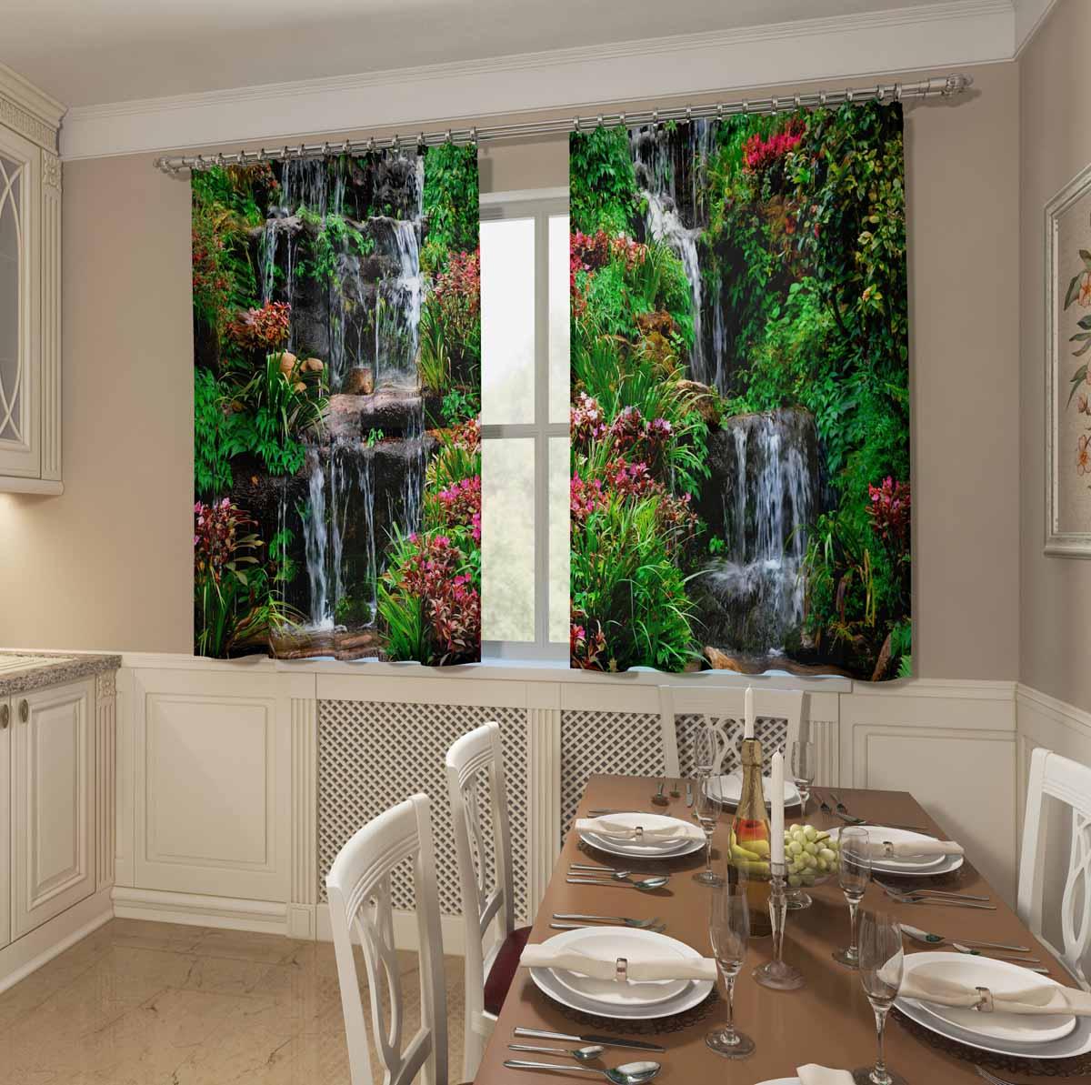 Комплект фотоштор для кухни Сирень Водопад в саду, на ленте, высота 160 см фотошторы сирень лаура в саду