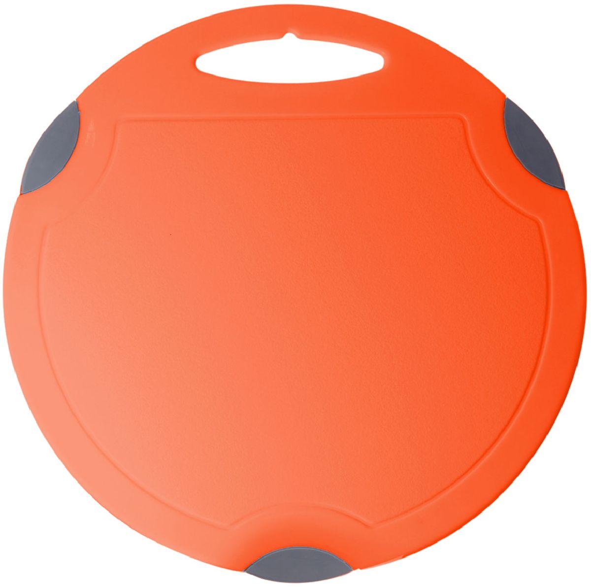 Доска разделочная Plastic Centre Люкс, цвет: оранжевый, серый, диаметр 32 см доска разделочная plastic centre люкс цвет мраморный диаметр 27 5 см
