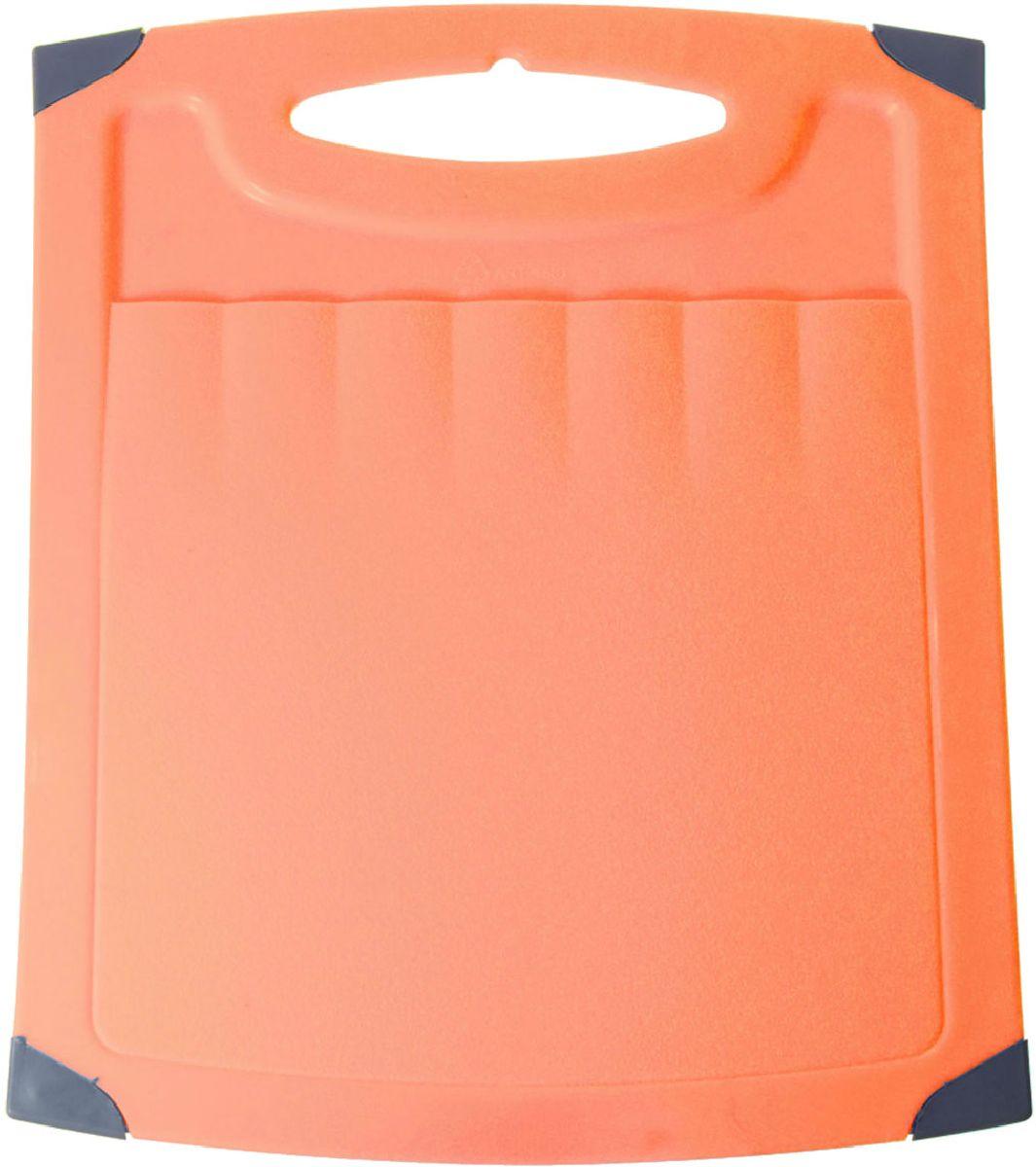 Доска разделочная Plastic Centre Люкс, цвет: оранжевый, 40 х 30 см доска разделочная plastic centre люкс цвет мраморный диаметр 27 5 см