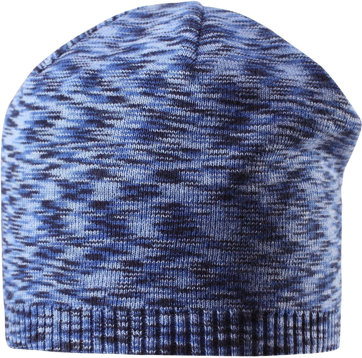 Шапка детская Reima Liplatus, цвет: синий. 5285276530. Размер 485285276530Стильная детская шапка прекрасно подойдет для весенней поры. Она изготовлена из эластичного и легкого вязаного хлопка, мягкого и приятного на ощупь. Материал сертифицирован по стандарту Oeko-Tex. Удлиненная, облегченная модель без подкладки.