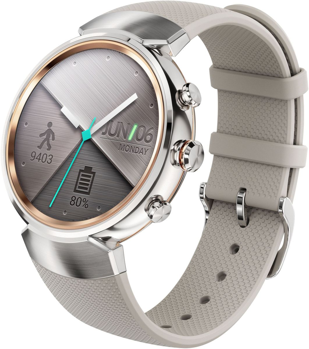 ASUS ZenWatch 3 WI503Q, Silver смарт-часыWI503Q-2RBGE0013ASUS ZenWatch 3 - это современное цифровое устройство, выполненное в соответствии с давними традициямичасового искусства из высококачественных материалов и с вниманием к каждой детали. Эти часы умеютделать гораздо больше, чем просто показывать время, а благодаря широким возможностям по персонализацииих интерфейса вы легко можете настроить их по своему вкусу. Длительное время автономной работы итехнология быстрой подзарядки аккумулятора делают ASUS ZenWatch 3 по-настоящему мобильнымустройством, которое всегда будет готово к работе.Своим внешним видом ASUS ZenWatch 3 ближе к традиционным часам, чем к современным цифровым гаджетам.Их стильный дизайн вдохновлен образом солнечного затмения, а широчайшая функциональность реализованас безупречным мастерством.Корпус часов ZenWatch 3 изготовлен из ювелирной нержавеющей стали марки 316L, которая наделяет их нетолько превосходным внешним видом, но и долговечностью, ведь ее прочность на 82% выше по сравнению собычной сталью. Высокий статус устройства подчеркивает тонкая отделка оправы.В облике нового устройства ASUS можно отметить необычные для умных часов элементы, а именно трибоковых кнопки. Верхняя кнопка является программируемой. Она предоставляет доступ к любимомуприложению или функции. Средняя кнопка переключает часы в различные режимы работы, а нижняямоментально активирует специальный энергосберегающий режим.Три визуальных темы и более 50 эксклюзивных вариантов циферблата, с которыми поставляются часы ZenWatch3, позволяют легко настроить их внешний вид по своему вкусу.Часы ZenWatch 3 помогают структурировать различную информацию - сообщения от друзей, напоминания озапланированных встречах, прогноз погоды и многое другое - и выдают ее в нужный момент в удобном длявосприятия формате.ZenWatch Manager - это приложение для смартфонов, которое предназначено для управления различнымифункциями часов ZenWatch 3. С его помощью можно выбрать циферблат и вывести на экран до тр