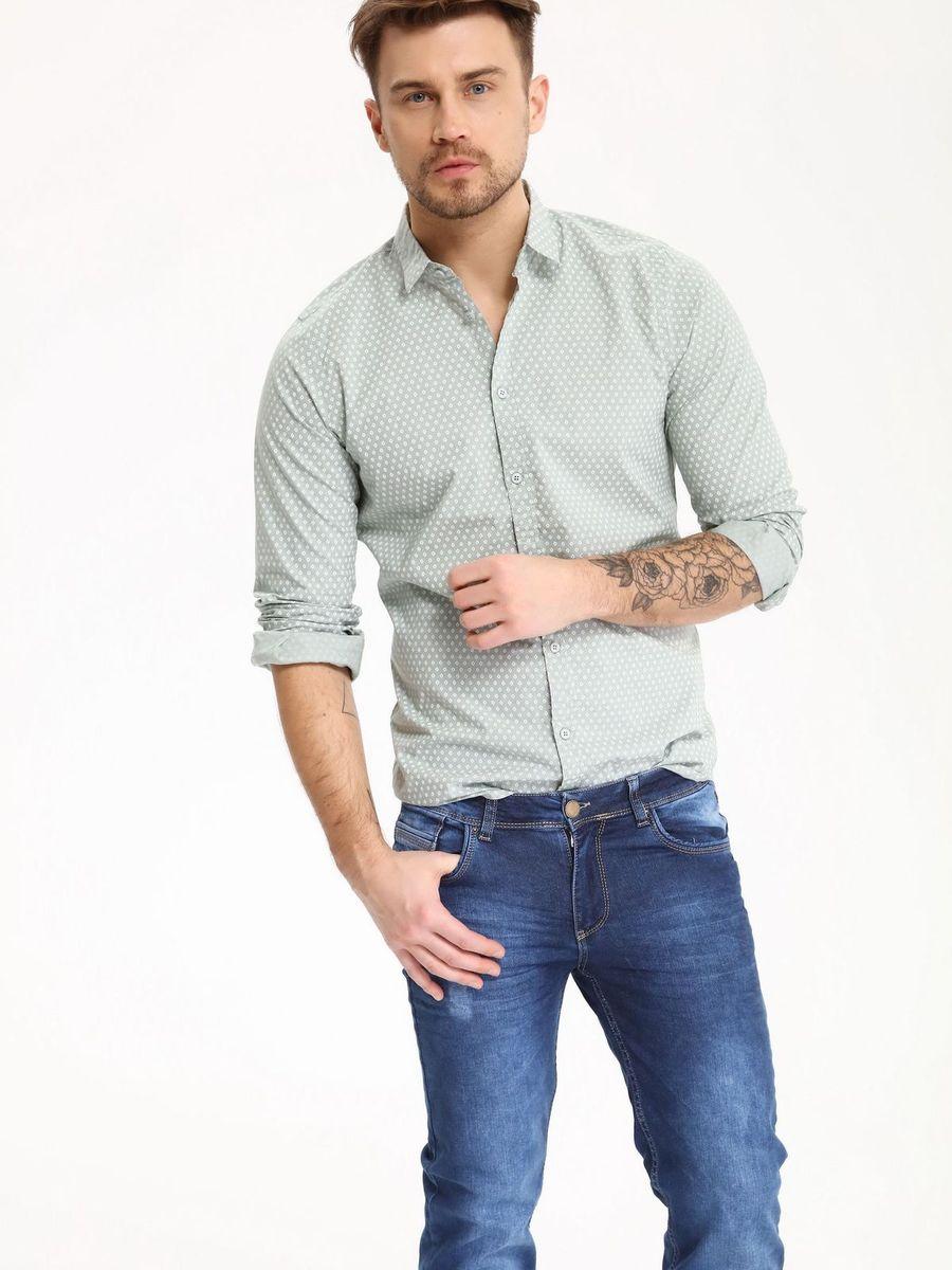 Рубашка мужская Top Secret, цвет: серый. SKL2274ZI. Размер 44/45 (52)SKL2274ZIРубашка мужская Top Secret выполнена из 100% хлопка. Модель с отложным воротником и длинными рукавами застегивается на пуговицы.