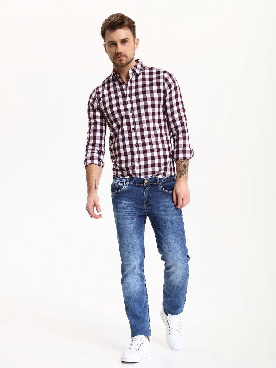 Рубашка мужская Top Secret, цвет: красный. SKL2275CE. Размер 42/43 (50)SKL2275CEРубашка мужская Top Secret выполнена из 100% хлопка. Модель с отложным воротником и длинными рукавами застегивается на пуговицы.