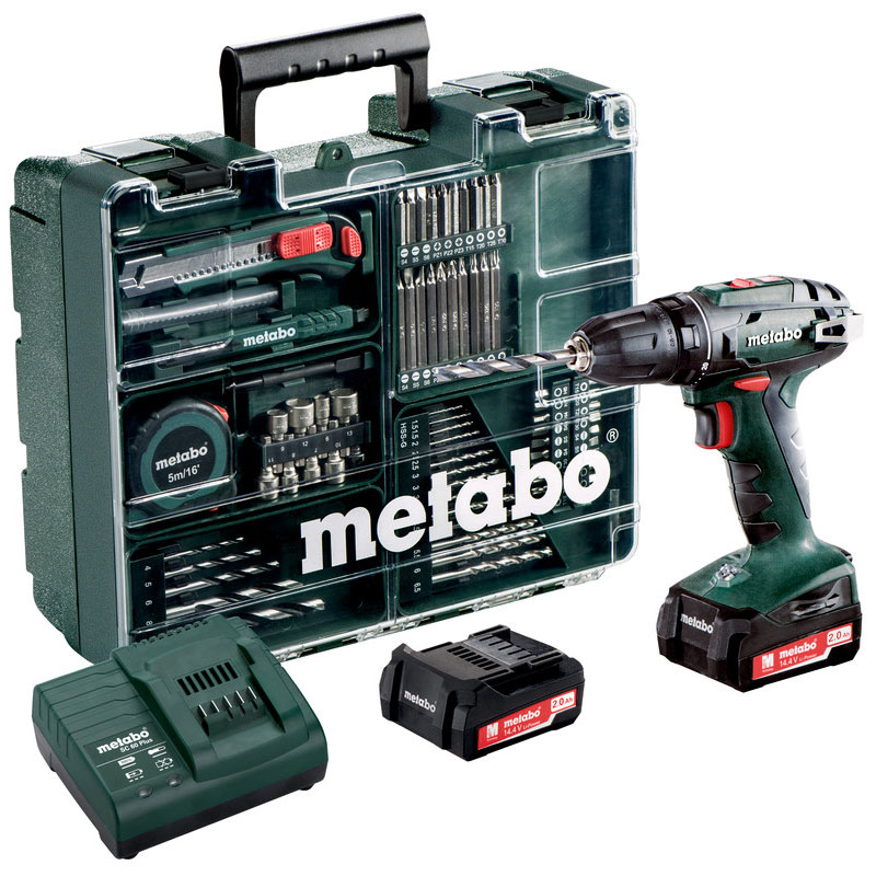 Дрель-шуруповерт аккумуляторная Metabo BS 14.4 Set, с комплектом аксессуаров602206880Легкая и компактная дрель-винтоверт Metabo BS 14.4 Set имеет укороченную конструкцию для универсального применения, а также встроенную подсветку для освещения рабочего места.Дрель имеет практичный крючок для ношения на ремне, с фиксацией справа или слева без инструментов. Аккумуляторные блоки с индикацией уровня заряда. Технология Ultra-M обеспечивает максимальную мощность, бережную зарядку, оптимальное использование энергии и длительный срок службы.Тип аккумуляторного блока: литиево-ионный.Напряжение аккумуляторного блока: 14.4 В.Емкость аккумуляторного блока: 2 Ah.Максимальный мягкий крутящий момент: 20 Нм.Максимальный жесткий крутящий момент: 40 Нм.Уровень звукового давления: 72 дБ(А).Уровень звуковой мощности (LwA): 83 дБ(А).Погрешность измерения K: 3 дБ(А).