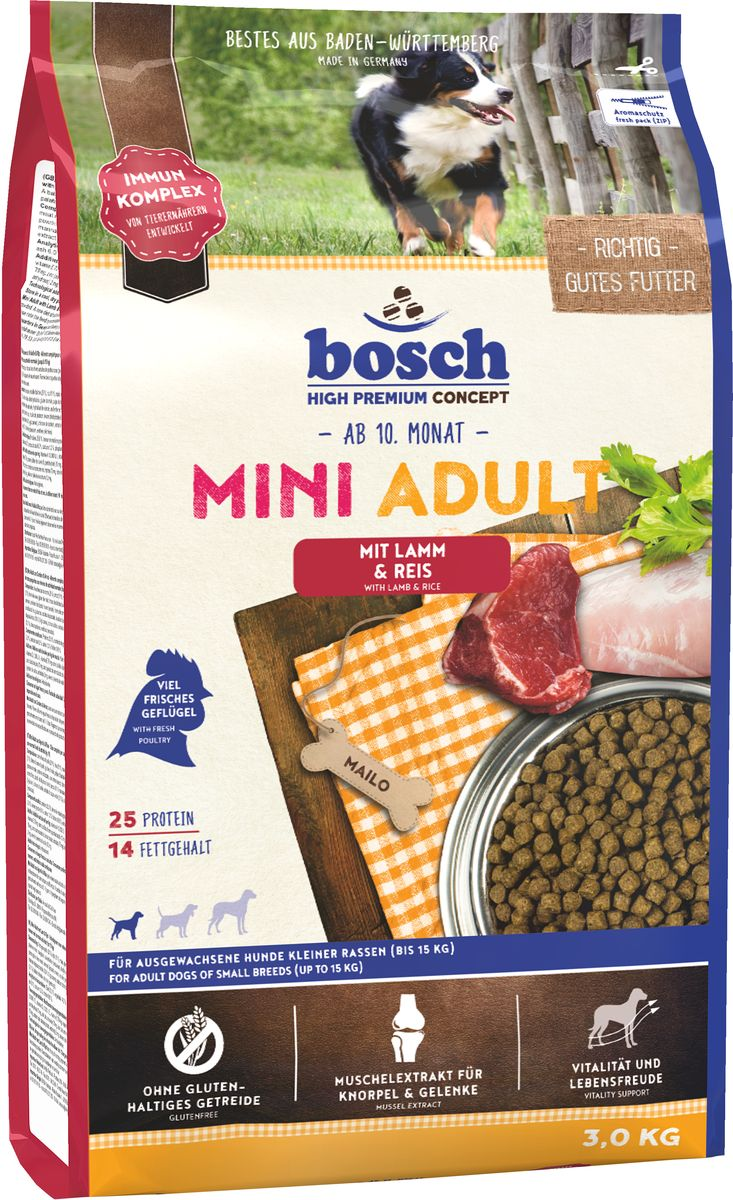 Корм сухой Bosch Mini Adult Lamb Rice для взрослых собак мелких пород, ягненок с рисом, 3 кг5338003Кормпредназначен для полнорационного ежедневного питания для взрослых собак, но маленьких пород (вес взрослой собаки до 15 кг). Данный корм содержит только натуральные продукты из высококачественного мяса ягненка, рис, пшеницу, цельное яйцо. Пропорция жира и протеина рассчитана специально для собак мелких пород, так как они более активны и тратят больше энергии. Данный корм Bocsh Mini Lamb & Rice изготовлен из мяса ягненка, которое обладает очень низким аллергенным потенциалом, и поэтому подходит для собак склонных к аллергии, а также с чувствительной кожей и шестью. Корм имеет высокие вкусовые показатели, поэтому подойдет даже очень избирательным собакамСостав: свежее мясо домашней птицы 20%, рис 17%, кукуруза, мясо домашней птицы, мука из мяса ягненка 5%, клейковина кукурузы, просо, животный жир, свекольная пульпа (без сахара), яичный порошок, гидролизованное мясо, льняное семя, рыбная мука, мука из свежего мяса, рыбий жир, дрожжи (минимум 0,1% маннан-олигосахариды, минимум 0,06% бета-глюкан), горох, поваренная соль, клетчатка, мука из мидий 0,1%, хлорид калия.Добавки на 1 кг: витамин А 12000 МЕ, витамин D3 1200 МЕ, витамин Е 70 мг, медь (в форме сульфата меди, пентагидрат) 10 мг, цинк (в форме окиси цинка) 70 мг, цинк (в аминокислотной хелатной форме, гидрат) 75 мг, йод (в форме йодида кальция, безводный) 2 мг, селен (в форме селенита натрия) 0,2 мг.Химический состав: протеин 25%, жиры 14%, клетчатка 2,5%, минеральные вещества 6%, влажность 10%, экстрактивные вещества, не содержащие азот 42,5%.Товар сертифицирован.Уважаемые клиенты! Обращаем ваше внимание на возможные изменения в дизайне упаковки. Качественные характеристики товара остаются неизменными. Поставка осуществляется в зависимости от наличия на складе.Расстройства пищеварения у собак: кто виноват и что делать. Статья OZON Гид