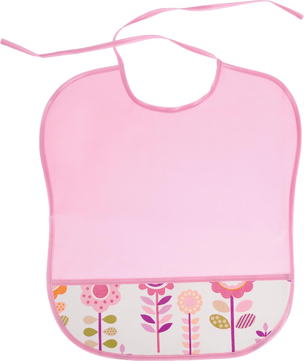 Колорит Нагрудник с карманом Цветы цвет розовый белый 33 х 33 см нагрудник gloryes цветы