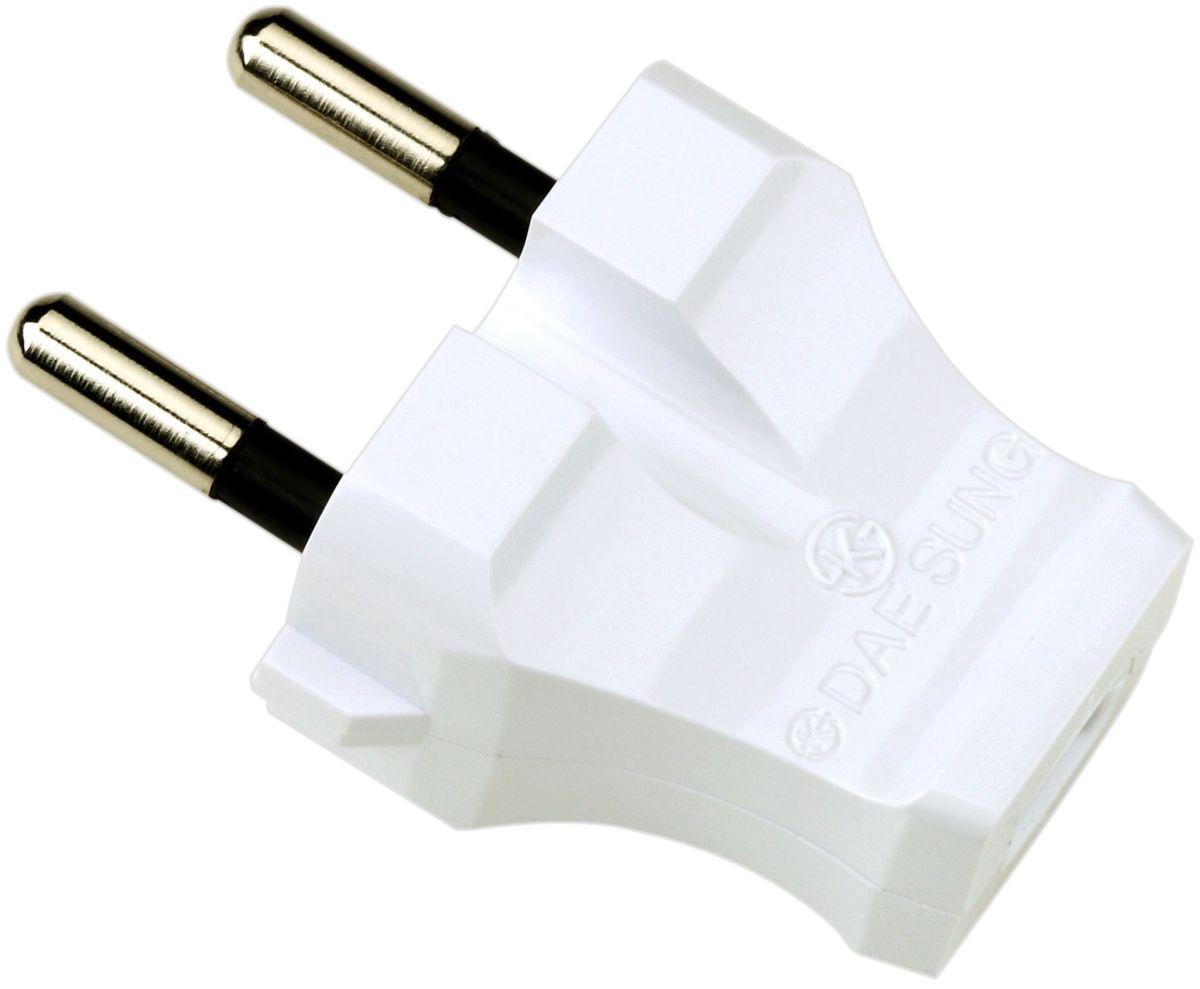 Вилка электрическая Daesung, плоская, прямая, 16 А, 250 В. ETC3101ETC3101Электрическая вилка Daesung выполнена из поликарбоната. Изделие предназначено для присоединения (разъединения) к электрической сети различных электрических приборов бытового назначения. Вилка позволяет произвести ремонт электрошнура в случае выхода из строя или повреждения неразборной вилки.Размер вилки: 6 х 3 х 2,5 см.