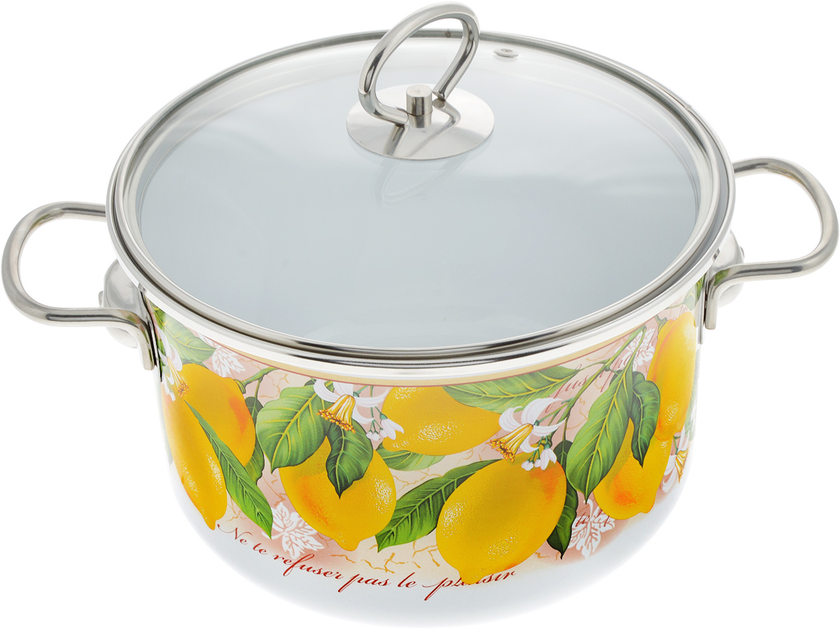 """Кастрюля Vitross """"Limon"""" выполнена из нержавеющей стали с эмалированным покрытием - наиболее безопасным видом покрытий посуды. Прочный стальной корпус обеспечивает эффективную тепловую обработку и не деформируется в процессе эксплуатации. Такая кастрюля идеальна для тепловой обработки и хранения пищевых продуктов, приготовления холодных блюд и сервировки стола.  Кастрюля оснащена стеклянной крышкой с металлическим ободом и пароотводом. По бокам кастрюли расположены удобные стальные ручки.  Подходит для всех типов плит, включая индукционные. Можно мыть в посудомоечной машине. Диаметр кастрюли (по верхнему краю): 21.5 см. Высота стенок кастрюли: 13 см. Ширина кастрюли с учетом ручек: 31 см."""