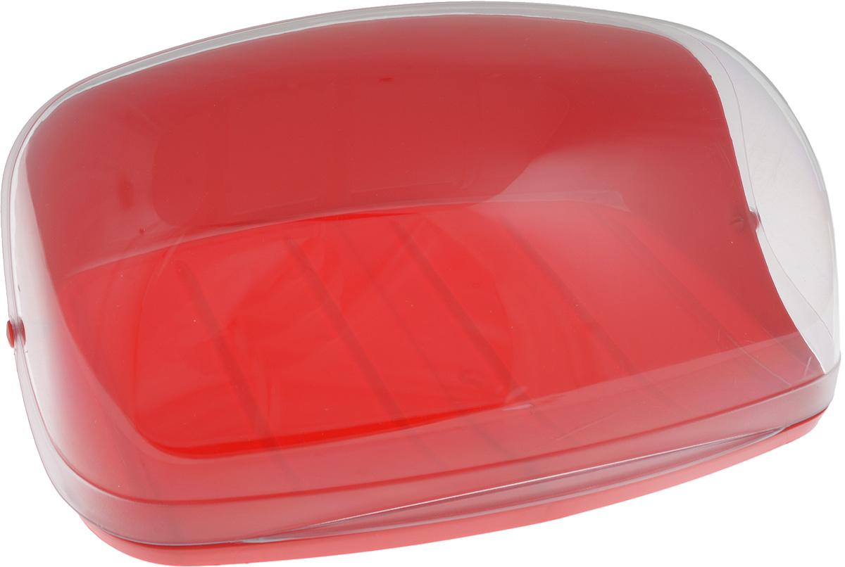 """Хлебница """"Idea"""", цвет: красный, прозрачный, 36 х 27,5 х 16"""