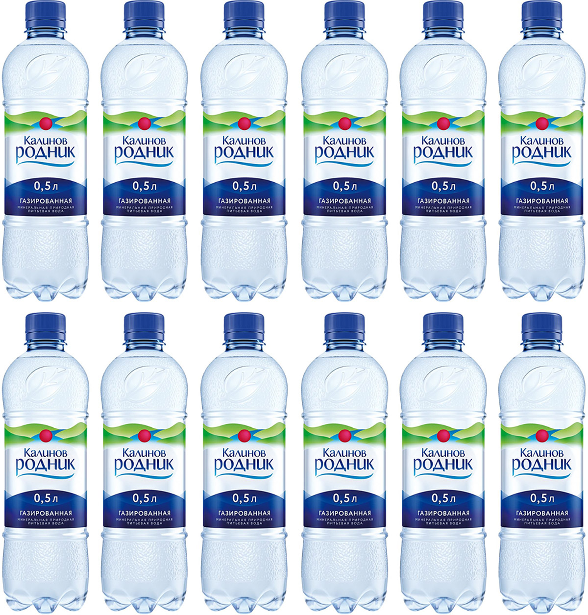 Калинов Родник минеральная питьевая газированная вода, 12 шт по 0,5 л калинов родник питьевая артезианская негазированная вода 9 л