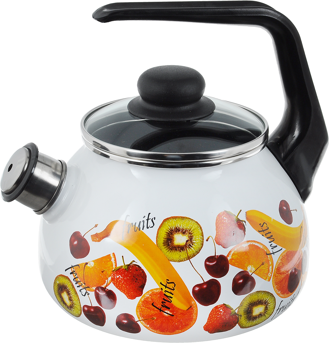 """Чайник Vitross """"Fruits"""" выполнен из высококачественной стали,  что обеспечивает долговечность использования. Внешнее  цветное эмалевое покрытие придает приятный внешний  вид. Пластиковая фиксированная ручка делает  использование чайника очень удобным и безопасным.  Чайник снабжен съемным свистком.  Можно мыть в посудомоечной машине. Пригоден для всех  видов плит, включая индукционные.  Диаметр чайника (по верхнему краю): 13 см. Высота чайника (без учета крышки и ручки): 21,5 см. Диаметр основания: 15 см."""