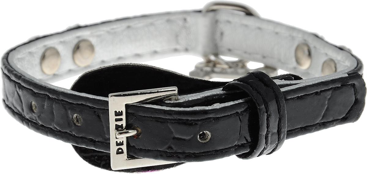 Ошейник для собак Dezzie, цвет: черный, обхват шеи 20-25 см, ширина 1 см. Размер XS. 56243415624341_черныйОшейник для собак Dezzie изготовлен из полиэстера и декорирован стразами. Он устойчив к влажности и перепадам температур. Клеевой слой, сверхпрочные нити и крепкие металлические элементы делают ошейник надежным и долговечным.Размер ошейника регулируется при помощи пряжки. Имеется металлическое кольцо для крепления поводка. Изделие отличается высоким качеством, удобством и универсальностью, а также имеет эффектный внешний вид. Минимальный обхват шеи: 20 см. Максимальный обхват шеи: 25 см. Ширина ошейника: 1 см.