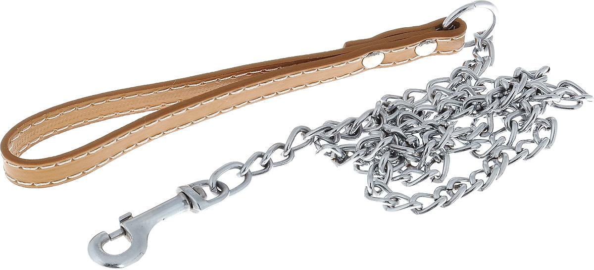 Поводок-цепь для собак Dezzie, цвет: бежевый, серебристый, толщина 2,5 мм, длина 120 см цепь поводок для собак triol с кожаной ручкой 3х110х10см