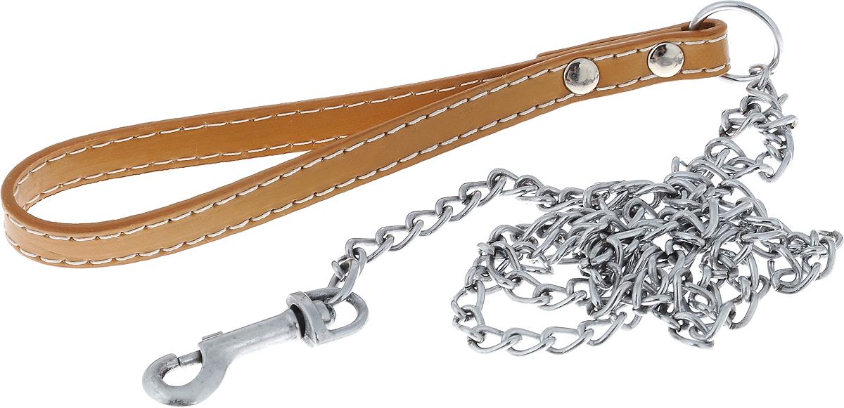 Поводок-цепь для собак Dezzie, цвет: бежевый, серебристый, толщина 2 мм, длина 120 см цепь поводок для собак triol с кожаной ручкой 3х110х10см
