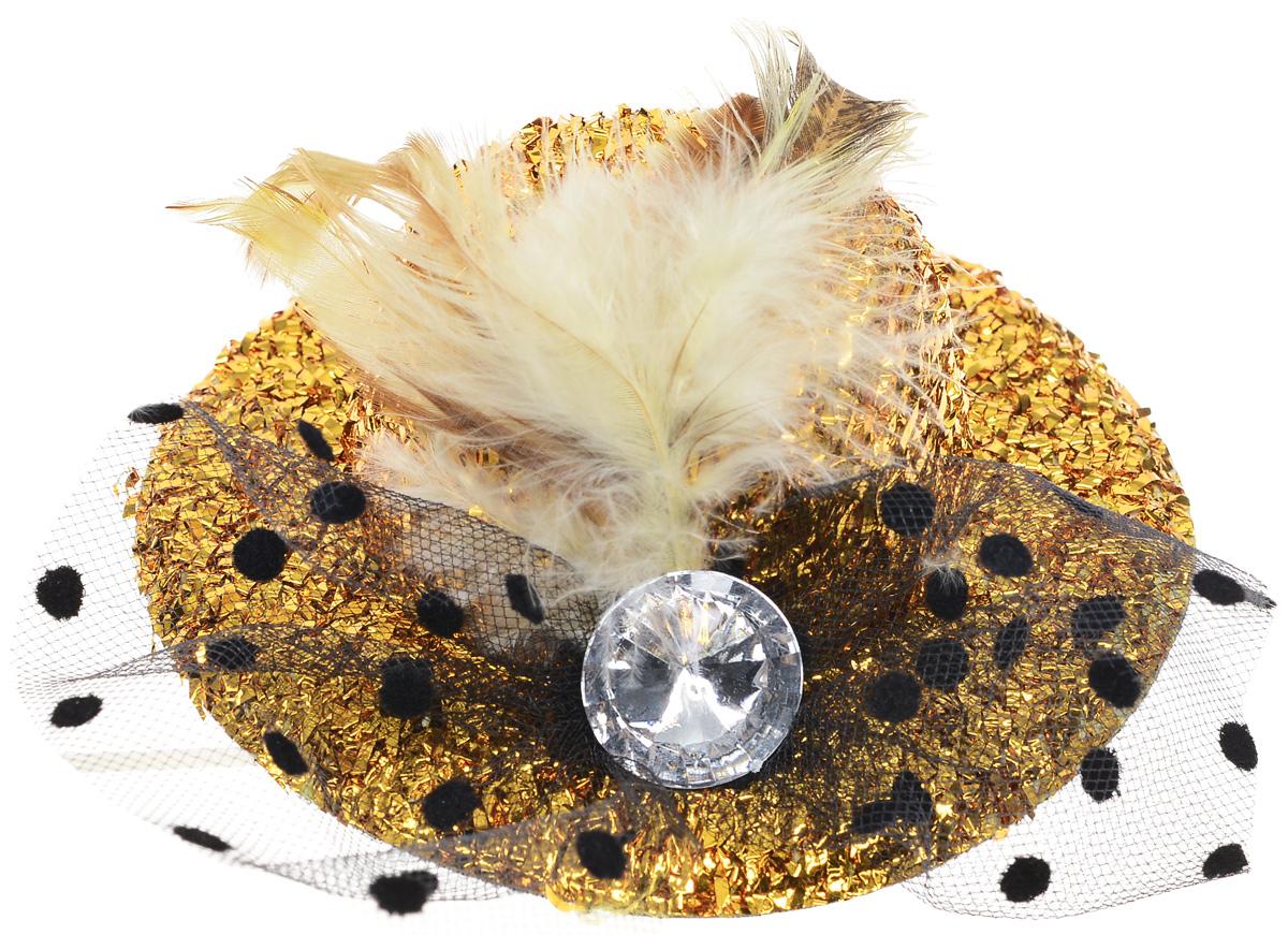 Partymania Карнавальная мини-шляпка с вуалью цвет золотистый - Колпаки и шляпы