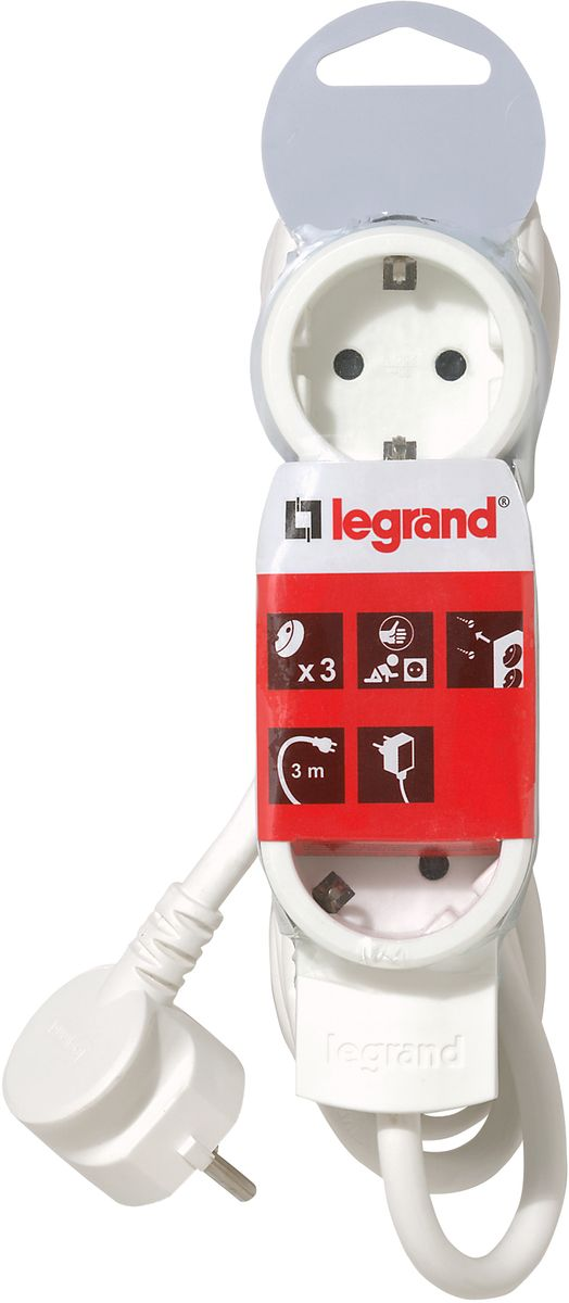 Legrand Стандарт сетевой удлинитель 3 x 2К+З (3 м)695002Legrand Стандарт - компактный сетевой удлинитель с эргономичным корпусом, что позволяет устанавливать его под мебелью. Возможно крепление к стене. Одна из розеток повернута на 90 градусов для удобства подключения зарядных устройств.