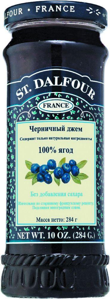 St.Dalfour Джем Черника, 284 г207010Без сахара. Изготовлен по старинным французским рецептам. Не содержит консервантов, искусственных ароматизаторов и красителей. Содержит только натуральные ингредиенты.